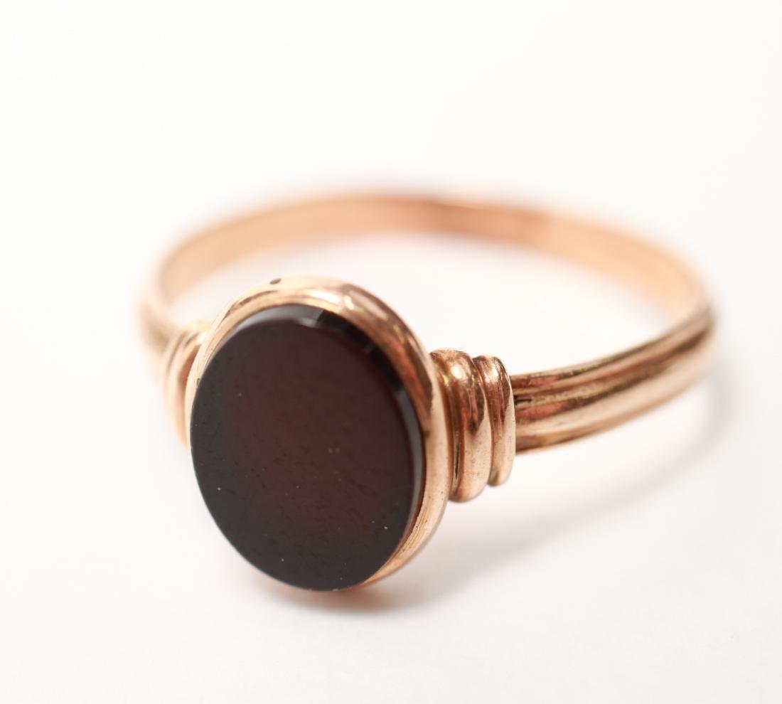 10K Rose Gold & Oval Black Onyx Lady's Ring