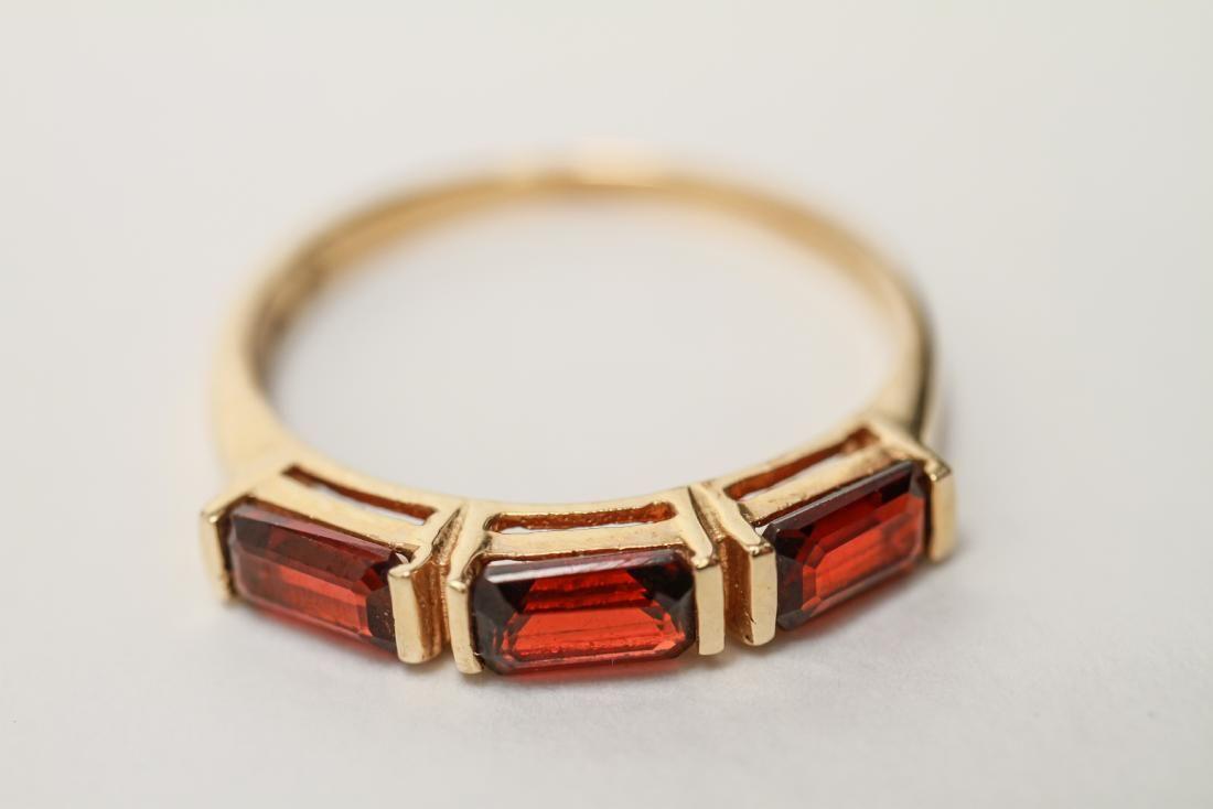 14K Gold & Three Garnets Lady's Ring