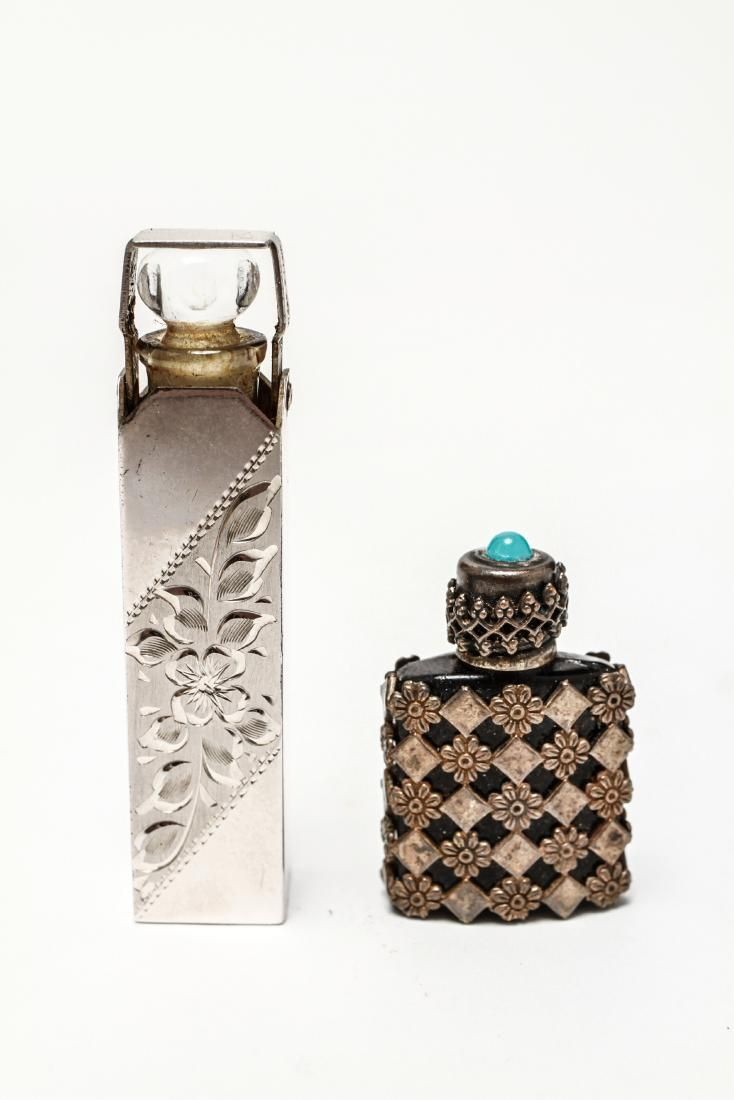 Silver Case w Perfume Bottle & Black Glass Flask 2