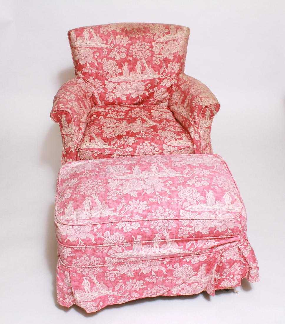 Armchair / Chair & Ottoman w Pink Toile Upholstery