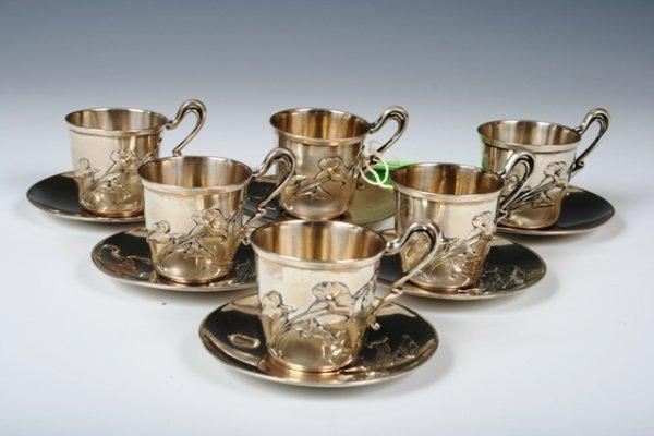 2021: 6 Pc Austrian Art Nouveau Silver Coffee Set c1900