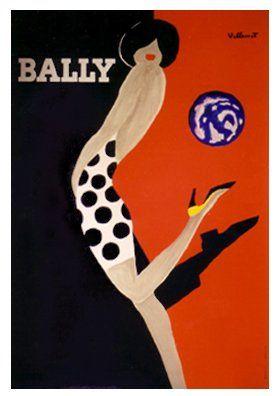 2202: Original Bernard Villemot Bally Woman in Polka Do