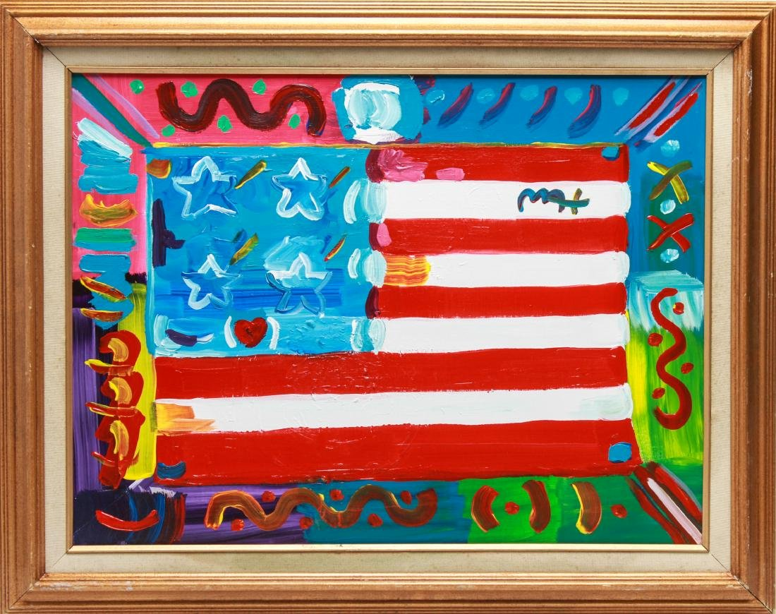 """Peter Max """"American Flag"""" Acrylic on Canvas"""