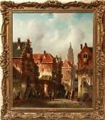 Charles Henri Joseph Leickert Street Scene Oil