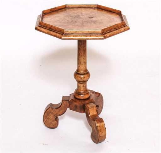 Octagonal Burl Wood Side Table