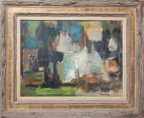 David Friend Abstract Landscape Oil on Board