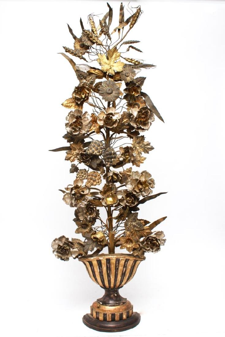 Hollywood Regency Ten-Light Floral Wall Sconce