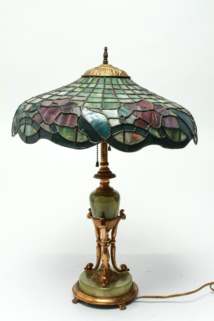 Bronze/Onyx Table Lamp with Leaded Glass Shade