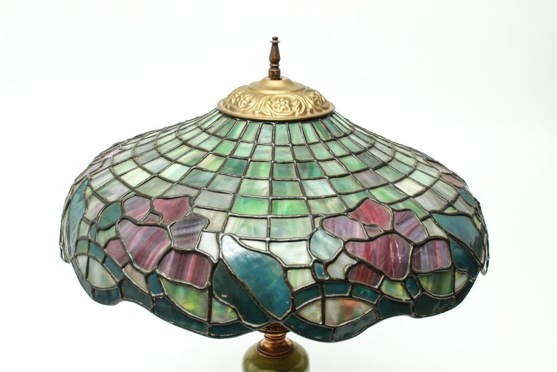 Bronze/Onyx Table Lamp with Leaded Glass Shade - 2