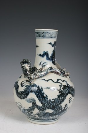 6: 20th C Chinese Porcelain Vase with Dragon