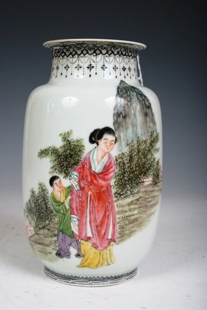 7: 19th-20th C Chinese Famille Rose Porcelain Vase