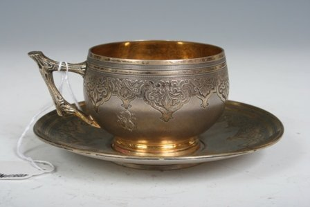 21: Antique 800 Sterling Silver Cup & Saucer