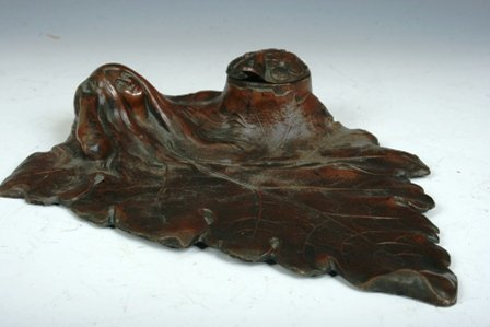 23: Bronze Art Nouveau Inkwell with Beauty Motif