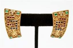 18K Gold Emerald Ruby Sapphire & Diamond Earrings