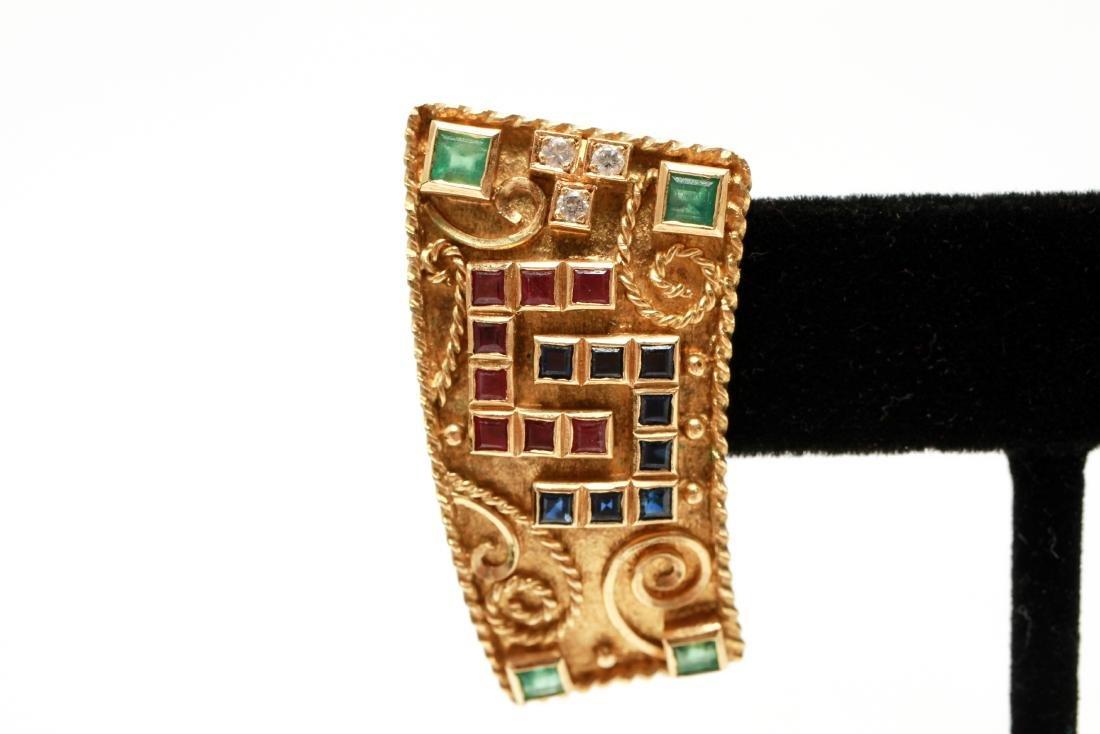 18K Gold Emerald Ruby Sapphire & Diamond Earrings - 2