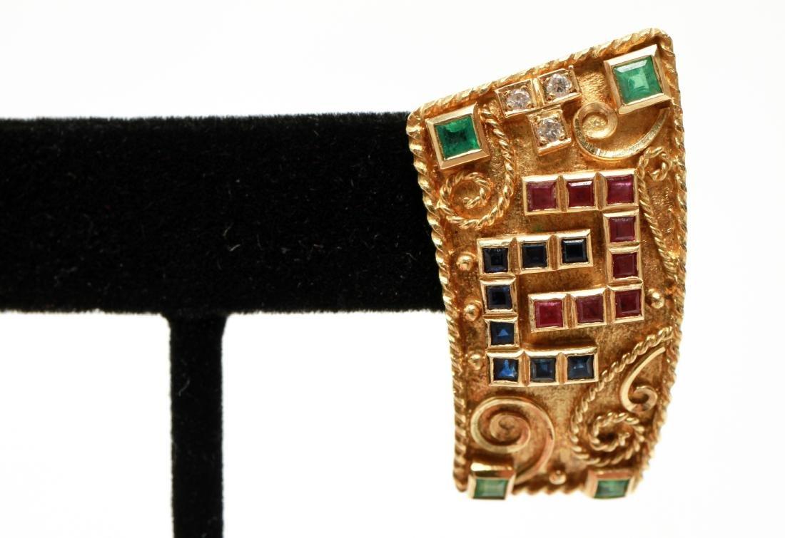 18K Gold Emerald Ruby Sapphire & Diamond Earrings - 3