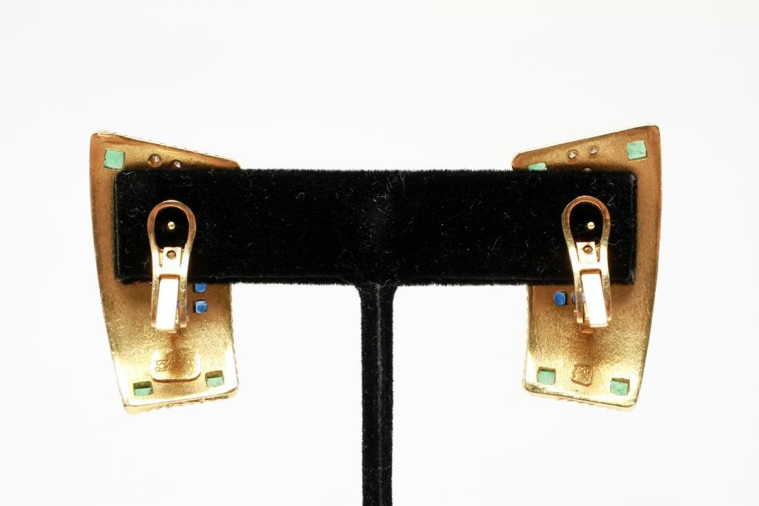 18K Gold Emerald Ruby Sapphire & Diamond Earrings - 4