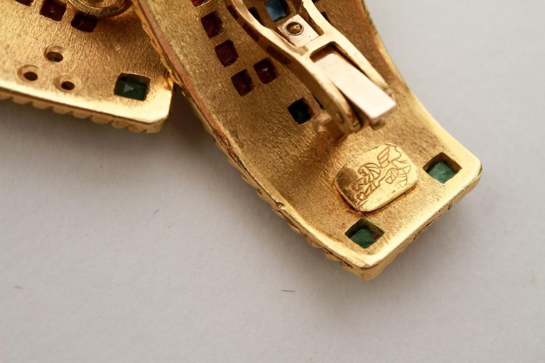 18K Gold Emerald Ruby Sapphire & Diamond Earrings - 6