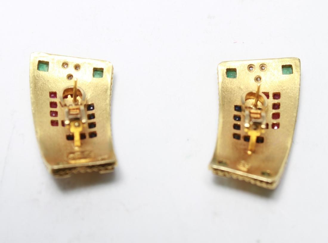 18K Gold Emerald Ruby Sapphire & Diamond Earrings - 7