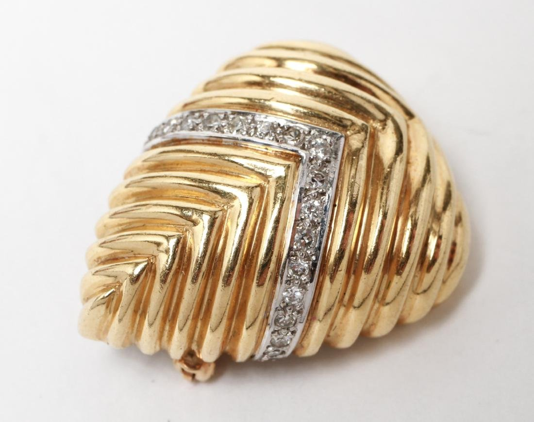 18K Gold & Pave-Set Diamonds Chevron Motif Brooch