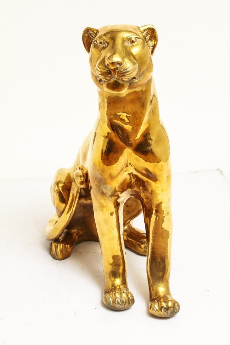 Large Cat / Seated Jaguar Brass Sculpture