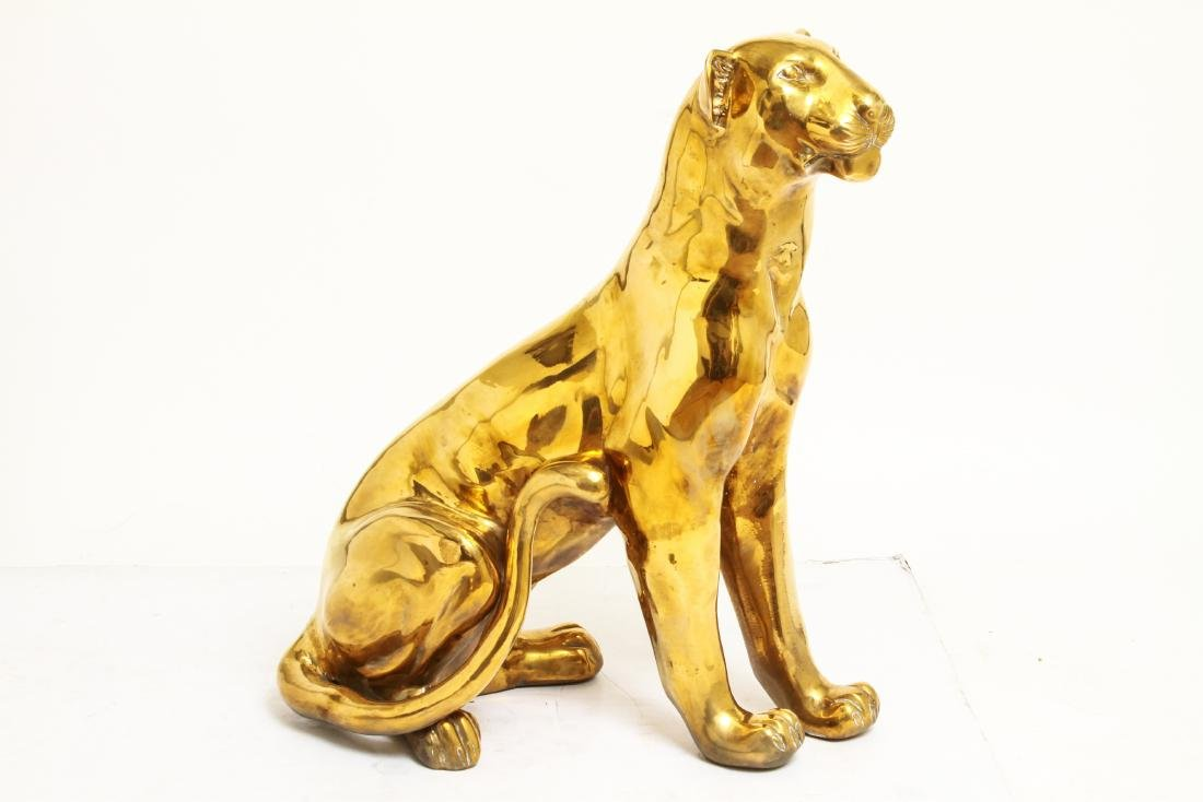 Large Cat / Seated Jaguar Brass Sculpture - 4