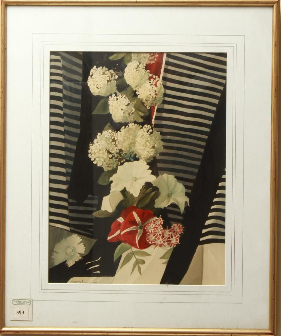 """Stow Wengenroth """"Flower Column"""" Watercolor / Paper"""