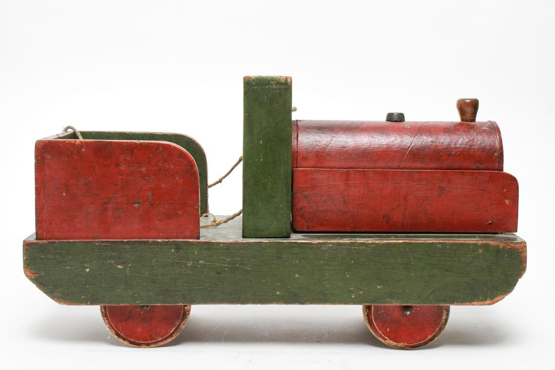 Primitive Folk Art Wood Locomotive Pull Toy