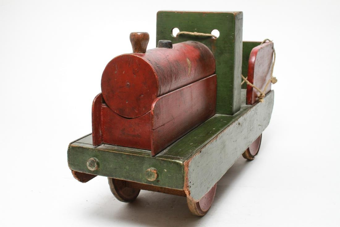 Primitive Folk Art Wood Locomotive Pull Toy - 3