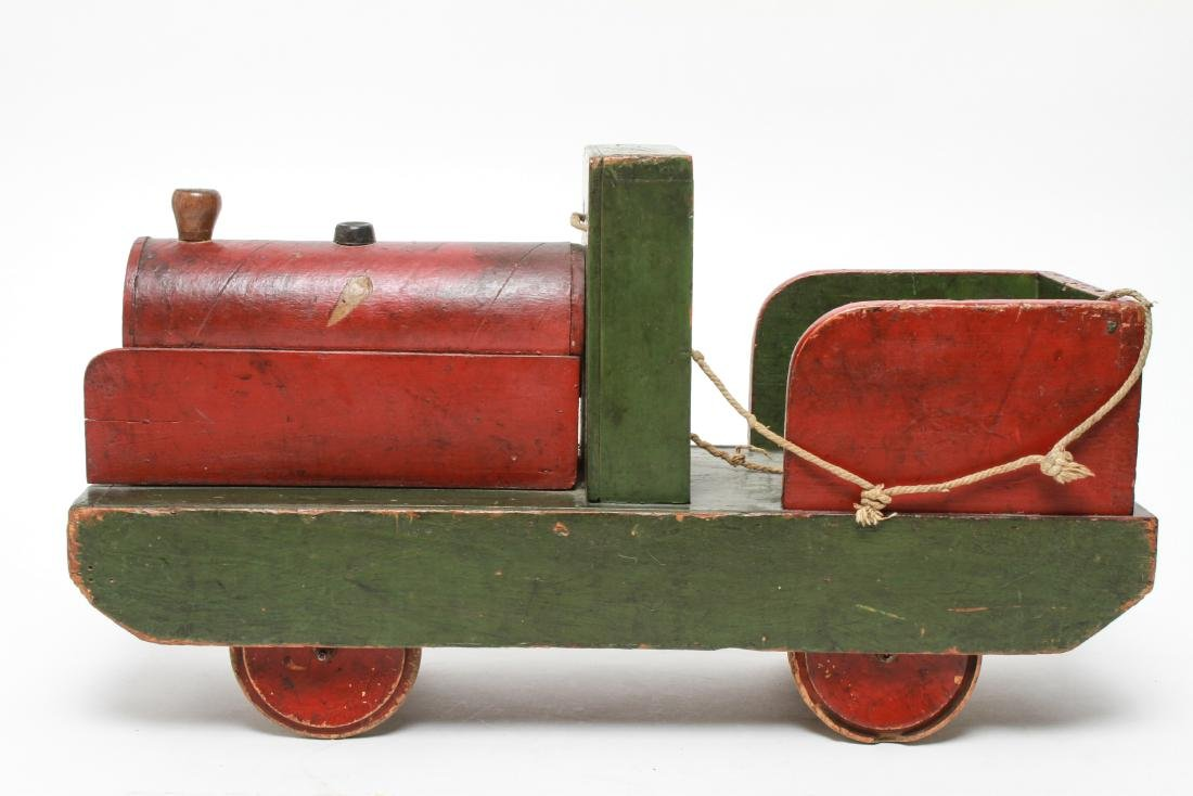 Primitive Folk Art Wood Locomotive Pull Toy - 4