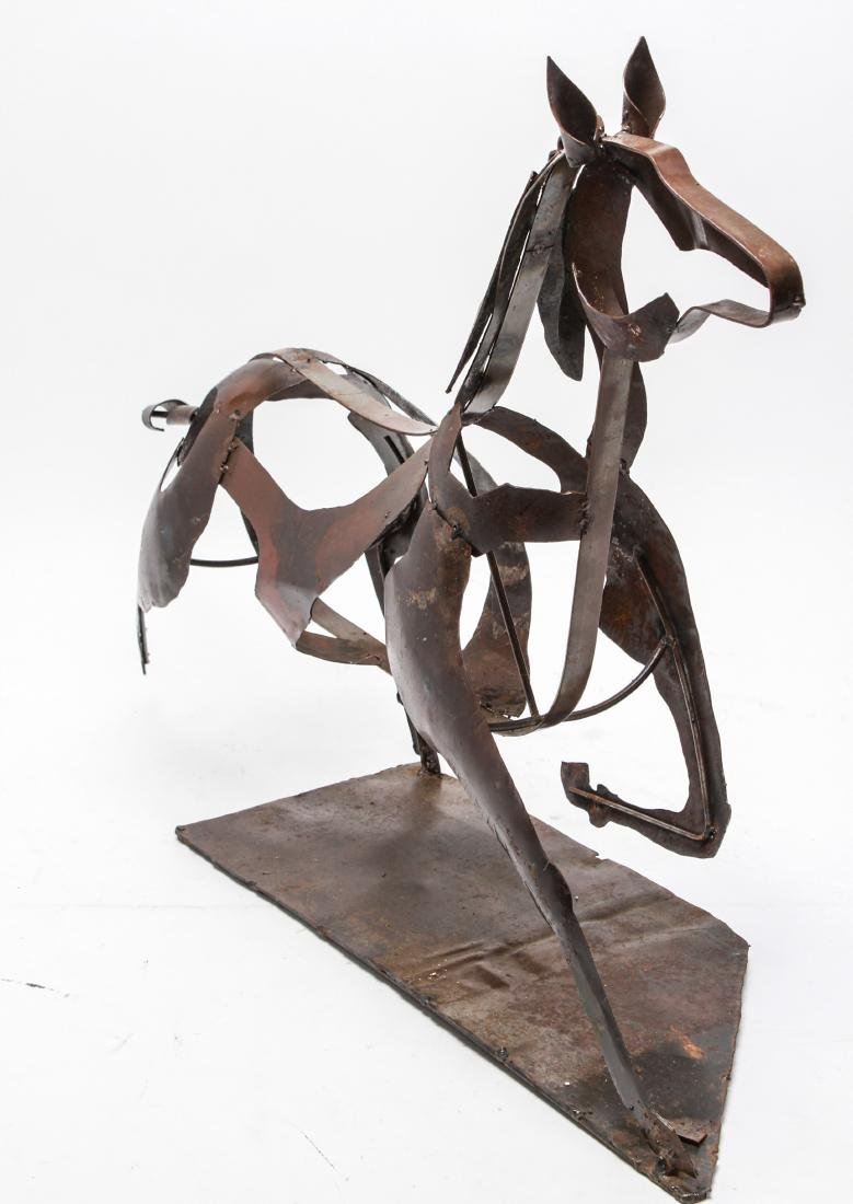Brutalist Mexican Painted Metal Horse Sculpture - 4