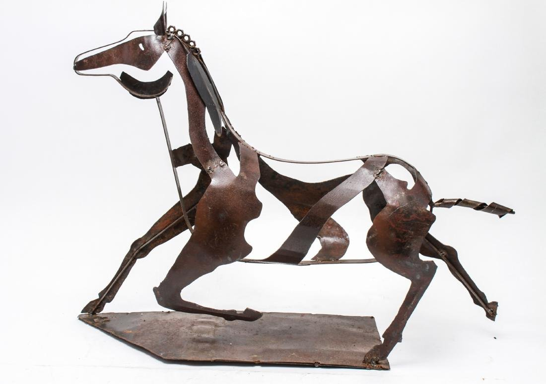 Brutalist Mexican Painted Metal Horse Sculpture - 6
