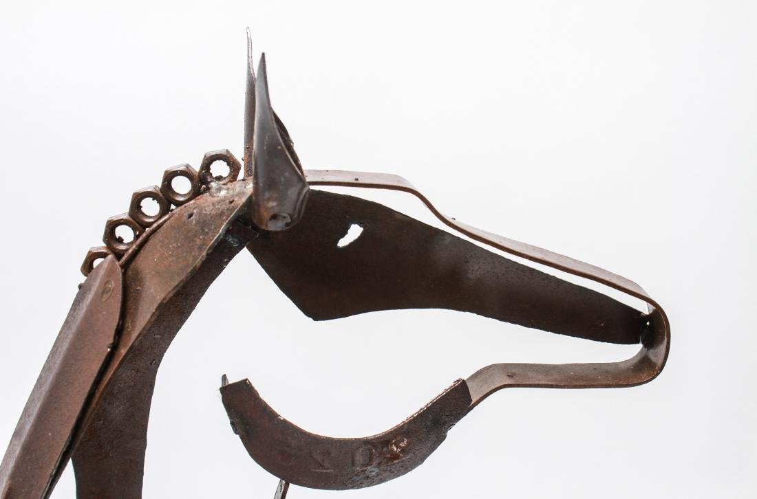 Brutalist Mexican Painted Metal Horse Sculpture - 9