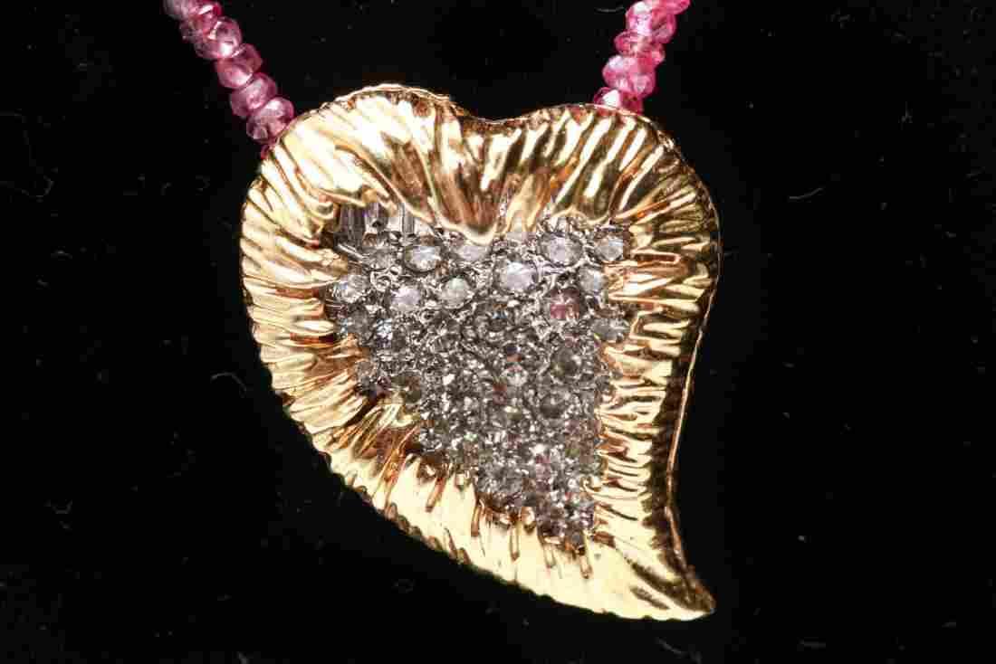 14K Gold & Diamonds Heart Pendant w Ruby Necklace