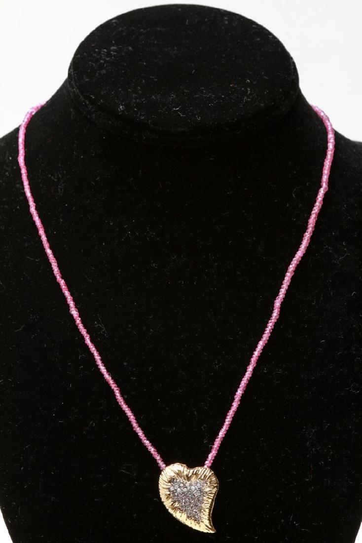 14K Gold & Diamonds Heart Pendant w Ruby Necklace - 2