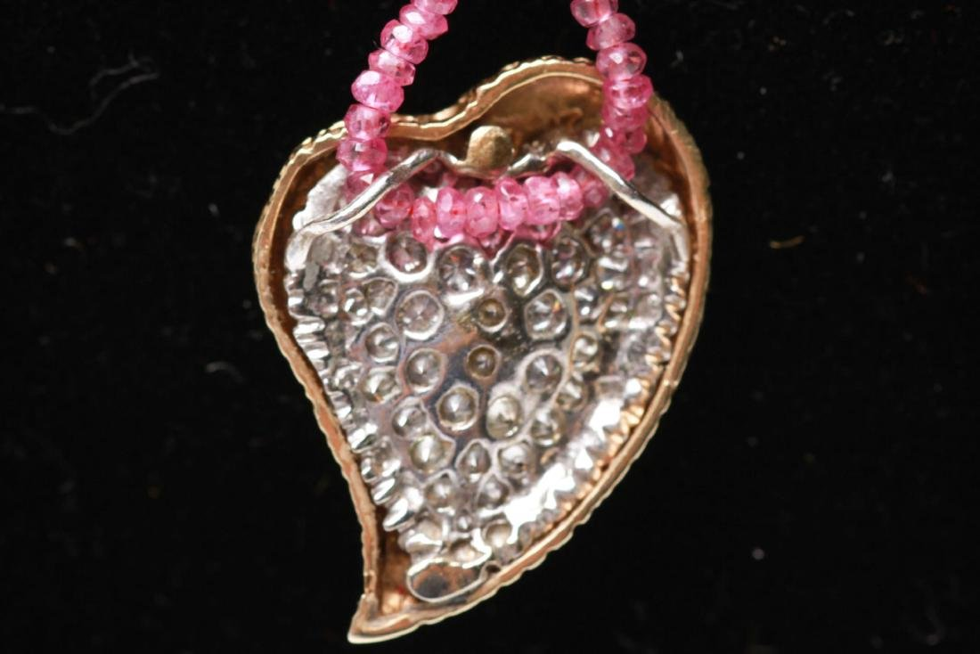 14K Gold & Diamonds Heart Pendant w Ruby Necklace - 3