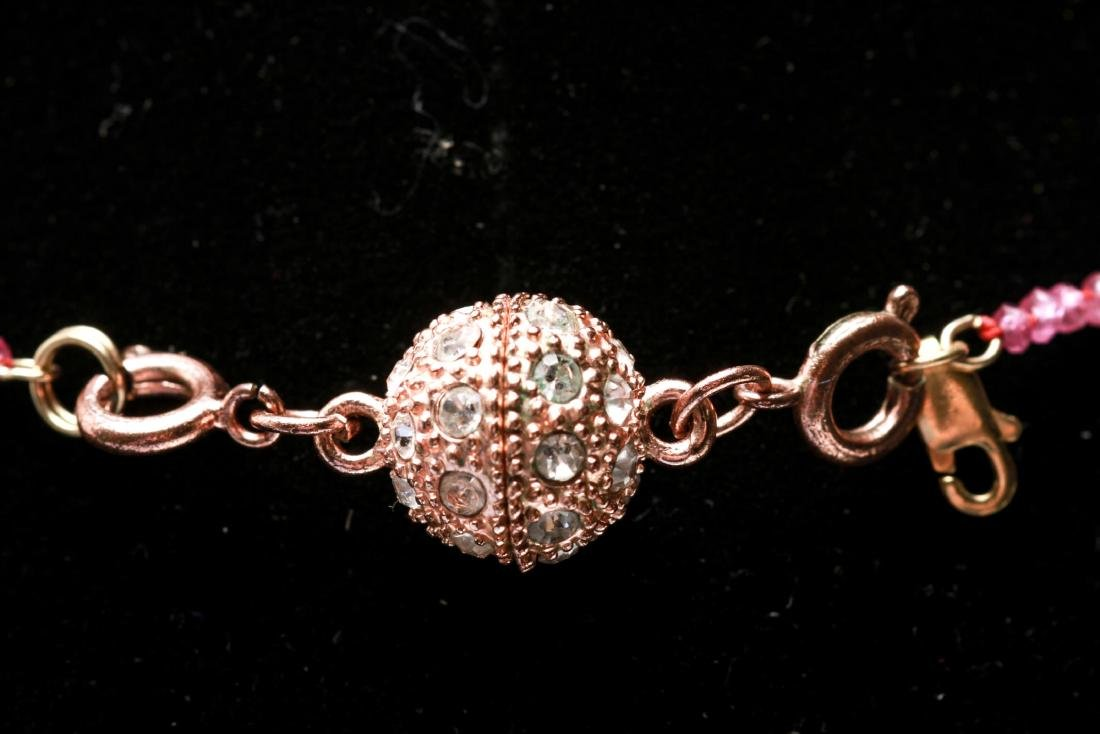 14K Gold & Diamonds Heart Pendant w Ruby Necklace - 4