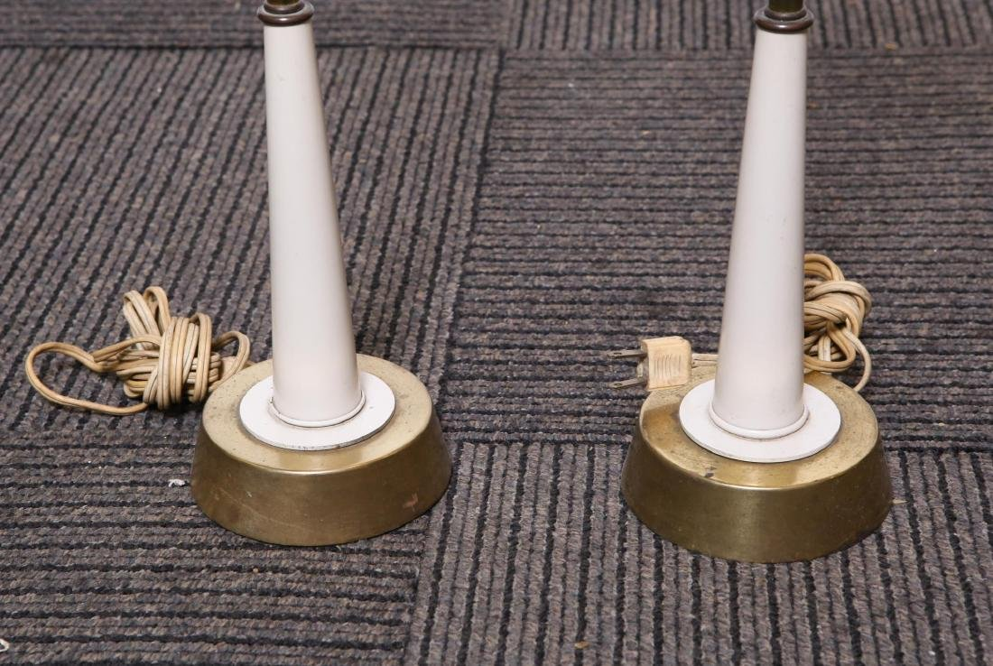 Mid-Century Modern Brass & Enamel Table Lamps, Pr - 2