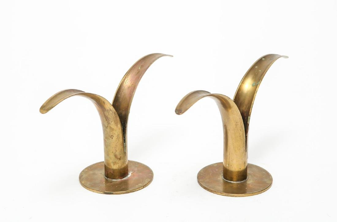 "Ystad-Metall ""Liljan"" Lily Candle Holders, Pair - 2"