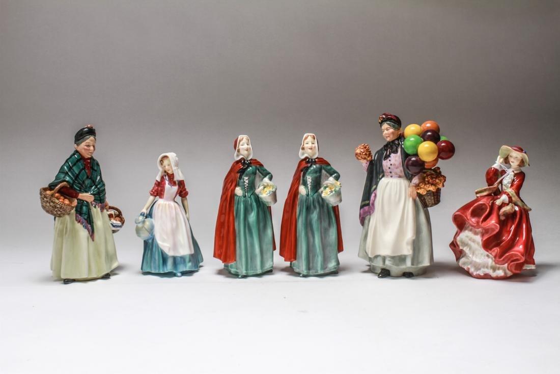 Royal Doulton Porcelain Figurines of Women, 6 Pcs