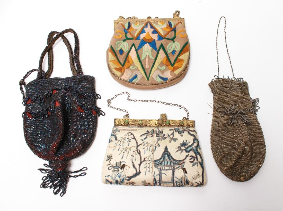 Antique Beaded & Embroidered Evening Bags, 4 Pcs