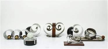 Art Deco Modern Revere Bookends & More 8 Pieces