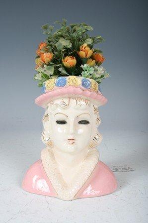 2004: Regency Ceramic Lady with Pink Hat Vase Head