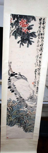 2016: 19/20th C. Chinese Scroll Painting of Flowers