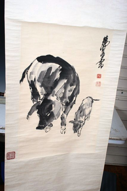 2019: 20th C. Scroll Painting of Pigs