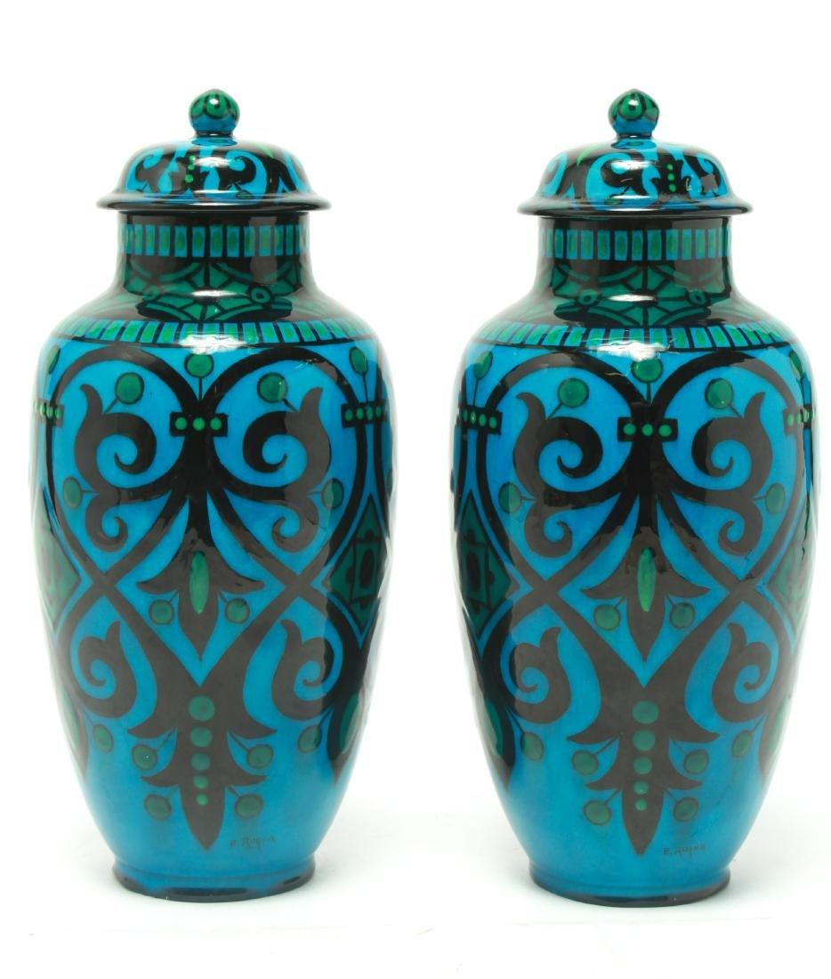 Paul Milet for Sevres Art Deco Porcelain Urns Pr - 3
