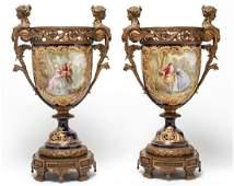 Large 19th C. Sevres Porcelain & Bronze Urns, Pair