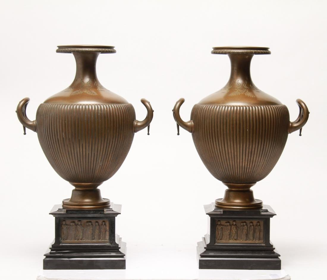 Large Neoclassical Manner Bronze & Marble Urns, Pr