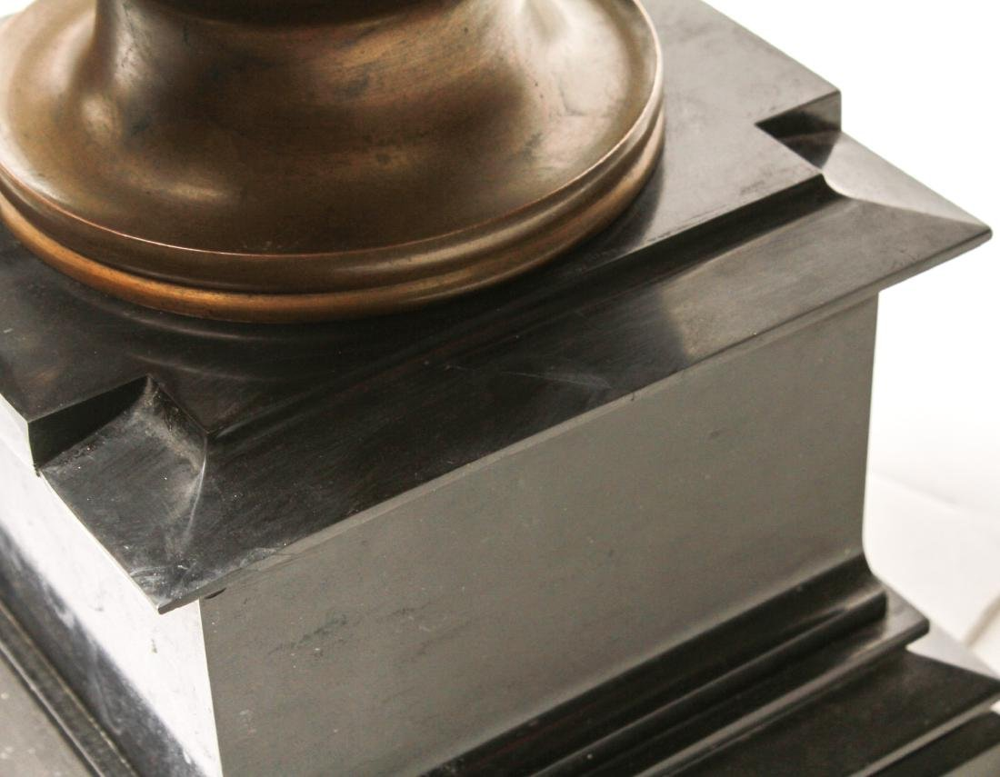 Large Neoclassical Manner Bronze & Marble Urns, Pr - 3
