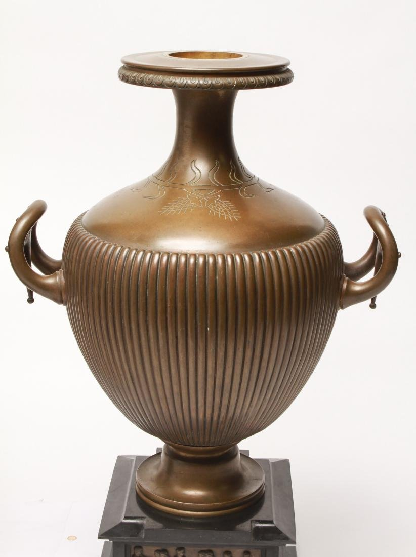 Large Neoclassical Manner Bronze & Marble Urns, Pr - 6